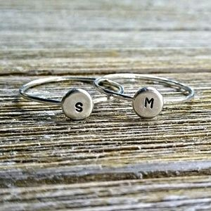 Sterling silver personalized initial ring A-Z
